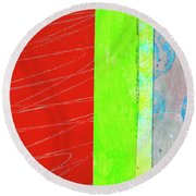 Round Beach Towel featuring the painting Square Collage No. 5 by Nancy Merkle