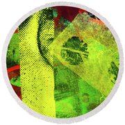 Round Beach Towel featuring the mixed media Square Collage No. 8 by Nancy Merkle