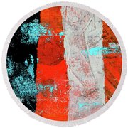 Round Beach Towel featuring the mixed media Square Collage No. 9 by Nancy Merkle