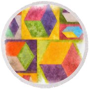 Square Cubes Abstract Round Beach Towel