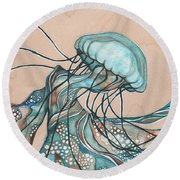 Square Lucid Jellyfish On Wood Round Beach Towel