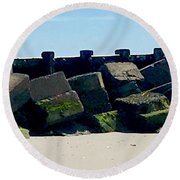 Square Mossy Blocks At Jetty  Round Beach Towel
