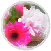 Square Pink Flower Impressions Round Beach Towel