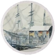 Round Beach Towel featuring the painting Square Rigger by Stan Tenney