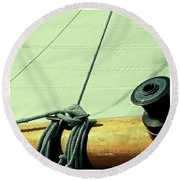 Square Sailboat Rigging In Mint  Round Beach Towel