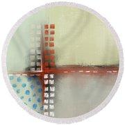Round Beach Towel featuring the mixed media Square The Circles by Eduardo Tavares
