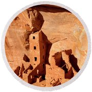 Square Tower House Round Beach Towel