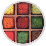 Squared In Bronze Round Beach Towel