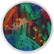 Squares And Other Shapes 2 Round Beach Towel