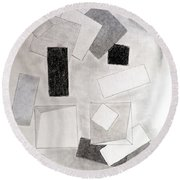 Squares And Shadows Round Beach Towel by J R Seymour