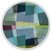 Round Beach Towel featuring the digital art Squares And Shims by Michelle Calkins