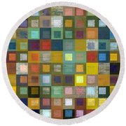 Round Beach Towel featuring the digital art Squares In Squares Five by Michelle Calkins