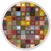 Round Beach Towel featuring the digital art Squares In Squares Four by Michelle Calkins