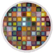 Round Beach Towel featuring the digital art Squares In Squares One by Michelle Calkins
