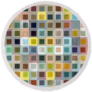 Squares In Squares Three Round Beach Towel by Michelle Calkins