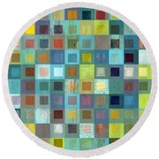 Round Beach Towel featuring the digital art Squares In Squares Two by Michelle Calkins