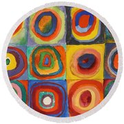 Squares With Concentric Circles Round Beach Towel