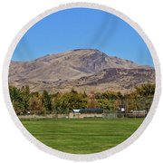 Squaw Butte From Gem Island Sport Complex Round Beach Towel