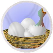Squeaker Hatching From Eggs Round Beach Towel by Michal Boubin