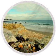Squibby Cliffs And Mackerel Sky Round Beach Towel