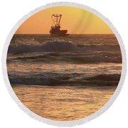 Squid Boat Golden Sunset Round Beach Towel