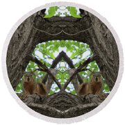 Squirrel Guardians Of The Doorway To A Green World Round Beach Towel