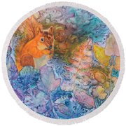 Round Beach Towel featuring the painting Squirrel Hollow by Nancy Jolley