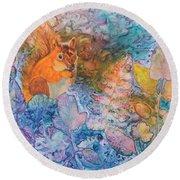 Squirrel Hollow Round Beach Towel by Nancy Jolley