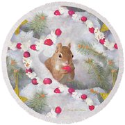 Round Beach Towel featuring the painting Squirrel In Snow With Cranberries by Nancy Lee Moran