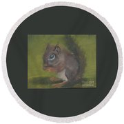 Round Beach Towel featuring the painting Squirrel by Jessmyne Stephenson