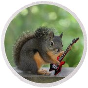 Squirrel Playing Electric Guitar Round Beach Towel