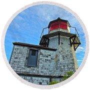 Squirrel Point Lighthouse Round Beach Towel