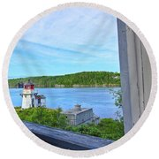 Squirrel Point View From The Deck Round Beach Towel