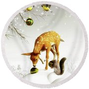 Squirrels And Deer Christmas Time Round Beach Towel