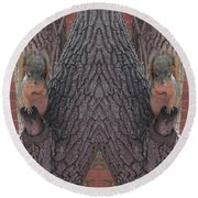 Squirrels In A Tree With Hands On Their Hearts Round Beach Towel