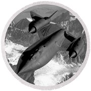 Sr-71 Blackbird Flying Round Beach Towel