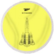 Sr-71 Blackbird Round Beach Towel by Mark Rogan