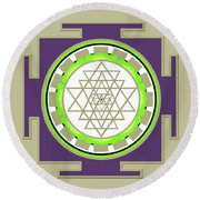 Sri Yantra Of Prosperity Round Beach Towel