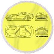 Srt Viper Blueprint Round Beach Towel