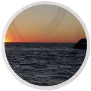 S.s. Atlantus At Sunset Round Beach Towel