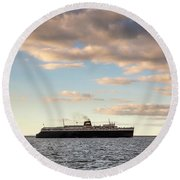 Round Beach Towel featuring the photograph Ss Badger Leaving Port by Adam Romanowicz