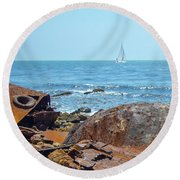 Ss Dominator Wreckage Round Beach Towel