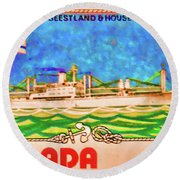 S.s Geestland And House Flag Geest Line Round Beach Towel