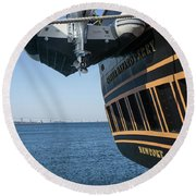 Round Beach Towel featuring the photograph Ssv Oliver Hazard Perry Close Up by Nancy De Flon