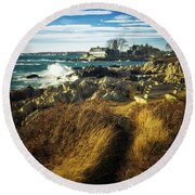 Round Beach Towel featuring the photograph St. Anne's Church-kennebunk, Maine by Samuel M Purvis III