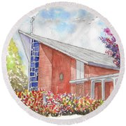 St. Anthony Of Padua Catholic Church, Gardena, California Round Beach Towel by Carlos G Groppa