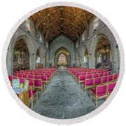 Round Beach Towel featuring the photograph St Asaph Cathedral by Ian Mitchell