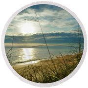 St Aug Sunrise Round Beach Towel
