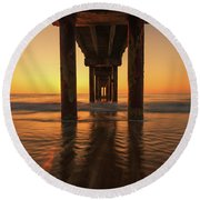 St Augustine Beach Pier Morning Light Round Beach Towel