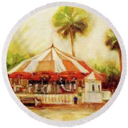 St. Augustine Carousel Round Beach Towel by Mary Hubley